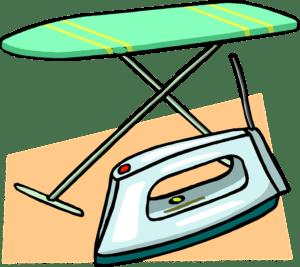 Une image d'une planche à repasser - tu regardes la télé pendant que tu repasses ?