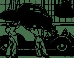 Des mécanicien qui réparent une voiture